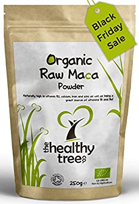 Raw ORGANIC Maca Powder | Premium Quality Superfood, Suitable for Vegetarians and Vegans | High in Vitamin B1, B2, B6, Calcium, Iron and Zinc | Soil Association Certified Organic | Maca Powder by TheHealthyTree Company