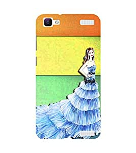 PrintVisa Designer Back Case Cover for Vivo V1 Max (Beautiful Christian Bride Standing Infront of Multicolored Stripes)