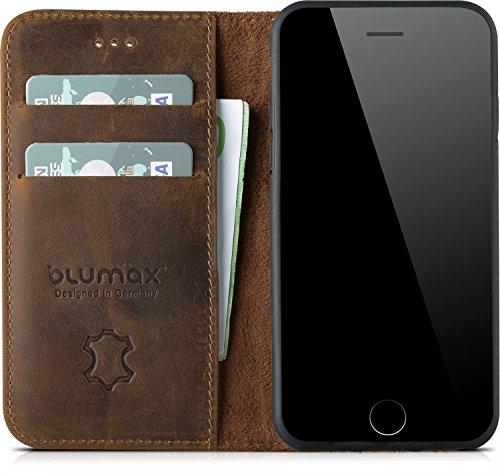 Blumax iPhone 8 iphone 7 sogar iPhone 6s & 6 Flipcase Ledertasche Echtleder Case Handyhülle ohne Magnet Farbe Classic-Braun Bookstyle Vintage (Geld Clip Leder Portemonnaie Magnetische)
