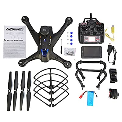 RC Drone With 1080p 2MP Camera, 5.8G GPS Altitude Hold Headless Phone Control Remote Control Drone Quadcopter Toy from Dilwe
