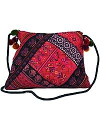 Guru-Shop Schultertasche, Hippie Beutel Chiang Mai, Herren/Damen, Rosa, Baumwolle, Size:One Size, 27x23 cm, Alternative Umhängetasche, Handtasche aus Stoff