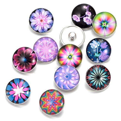 Soleebee-Glas-Aluminium-Click-Button-fit-55mm-Knopfloch-Schmuck-Charms-Set-12-Stcke-Fantasie-Blumen-3