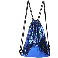 Fjiujin,Mermaid Sequins Drawstring Bolsa Deportiva Escalada Senderismo Compras Mochila Trendy(Color:Real)