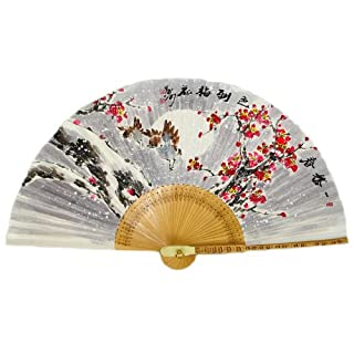 Hand Painted Folding Ume Flower under Snow in the Night Painting Korean Mulberry Rice Paper Bamboo Art Handheld Decorative Fan