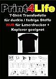 10 Blatt DIN A4 T-Shirt Folie Transferfolie Transferpapier für dunkle Textilien LASERDRUCKER Kopierer - Papier für Laserkopierer/-drucker zum Heißtransfer von Bildern und Schriftzügen auf schwarze oder dunkle Stoffe sowie anderen porösen Medien.