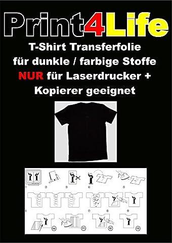 10 feuilles de format A4 T-shirt feuille de transfert du papier de transfert de feuille pour les tissus sombres LASER imprimante-copieur - Papier pour Laser Copieur / Imprimante pour chauffer images de transfert et le lettrage sur les tissus noirs ou sombres et d