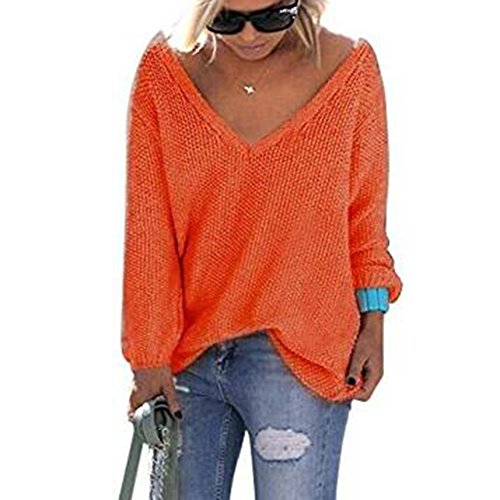 hibote Les femmes à manches longues pull en maille pull lâche pull tops Knitwear Blouses Orange