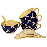 KITTENS Ceramic Food Grade Handpainted Soup Bowls with Spoons, Set of 4, Blue and Yellow
