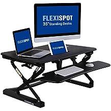 """FlexiSpot 35"""" (89cm) M2B Alzata di scrivania in piedi altezza regolabile, convertitore da scrivania in piedi, con un vassoio di tastiera (nero)"""