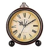 Élégant ronde silencieuse Réveils Réveil Salon Horloge de bureau, A
