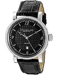 Stuhrling Original  719.02 - Reloj de cuarzo para hombre, con correa de cuero, color negro