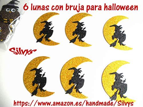 6 Brujas con luna para decorar en halloween de goma eva brillante, de 9,2 x 7,5...