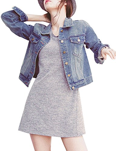 Donna Giacca In Jeans Corta Con Risvolto Manica Lunga Classico Denim Jacket  Basi 690a42db672