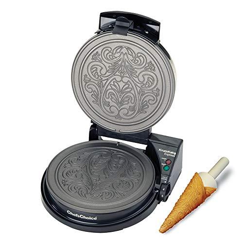 Chef\'sChoice 839 KrumKake Express Krumkake Cookie Maker mit Color Select Schnellbacken Sofortige Temperaturerholung schnelle Backen leicht zu reinigen mit Überlaufkanal inkl. Kegelwalze schwarz