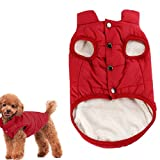 Kismaple Dog Cosy Fleece Jacket Puppy Winter Lined Coat Clothes Warm Padded Vest for Small Dog Clothing Red (S:10.6 inches Length)