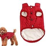 Kismaple Cane Accogliente Giacca in pile Cappotto foderato d'inverno Vestiti caldi Imbottito per piccolo medio grande Cani (M (Petto: 47cm, Collo: 33cm), Rosso)