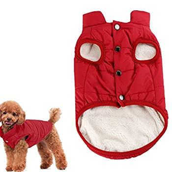 Kismaple Dog Cosy Fleece Jacket Puppy Winter Lined Coat Clothes Warm Padded Vest For Small Dog Clothing Red (Xs:9 Inches Length) 0