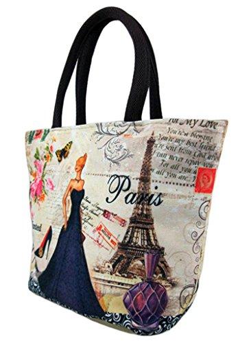 EOZY-Vintage Borsa a Spalla Donna Borsa a Mano Paris Attrazioni Turismo Souvenir 20*20*13CM (Colore 13) Colore 1