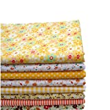 KING DO WAY 8 Stueck Baumwolltuch Stoffpakete Assorted vorgeschnittene Fat Quarters Bundle Charme Cotton Quilt Stoff Patchwork gelb Serie 50x50cm
