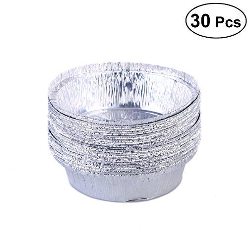 BESTONZON Lebensmittelqualität Verdickte Aluminium Folie Cupcake Cookie Pie Gerichte Pudding Creme Tart Form Zinn Teller Pfannen (15,2cm, 30Stück) -