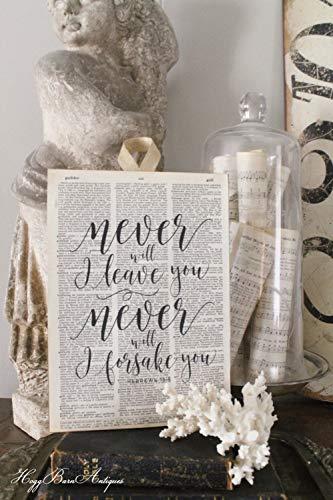 istiWood Never Leave Forsake You Sign Vintage Wörterbuch Kunstdruck Buch Seite Schrift Vers Französisch Bauernhaus Dekor Bibelschrift Vers -