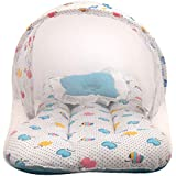 Littly Dual Color Fruit Print Bedding Set with Foldable Mattress, Pillow and Zip Closure Mosquito Net (12-18 Months, Blue)