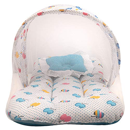 Littly Dual Color Fruit Print Bedding Set with Foldable Mattress, Pillow and Zip Closure Mosquito Net (0-3 Months, Blue)