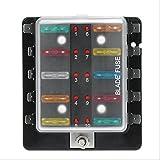 Qiilu Circuit Blade Sicherungskasten Blockhalter mit LED Warnleuchte Kit für Auto Van Boat Marine (10 Weg)
