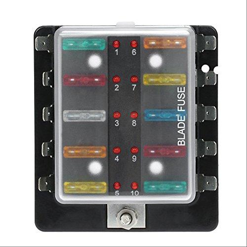Qiilu 32V 10 Voies Universel Boîte Porte à Fusible Porte-fusible avec Kit de Lumière d'avertissement LED pour Voiture Van Boat Marine
