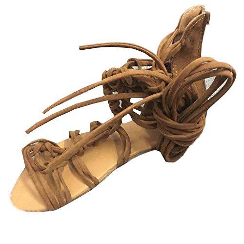 Damen Hohe Stiefel Sandalen, Selou Sommer Casual Gladiator Schnürschuhe Flache Riemchen Frauen Sommer Keilabsatz Plateau Breite Active HöHe Outdoor Weite Sport Leichte Slip Elegante Schuhe