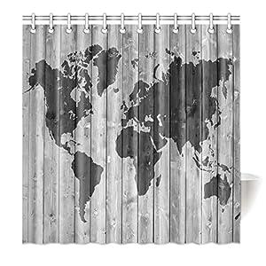 violetpos Top calidad antimoho para cortina de ducha (Impresión Digital Para Cuarto de baño baño cortinas Fácil gris madera mapamundi