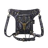Cestlafit Leder Vintage Schultertasche, Steampunk Punk Handtasche, Leder Taille Packs Bag, Beintasche Gothic, Schwarz, CFB002