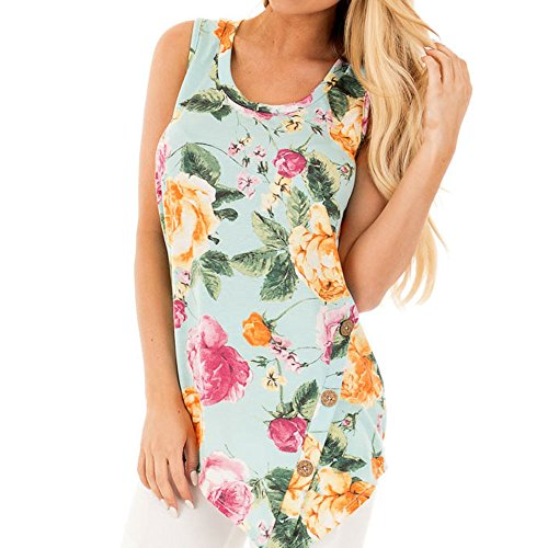 Uranus Damen Blumenmuster Asymmetrischer Hem Sommer Tanks Top Bluse Westen T-Shirt Armee Grün (Colorblock Cami)