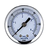 MagiDeal 0-60psi 0-4bar Mini Wahlluftkompressor Meter Hydraulische Manometer