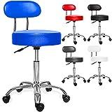 Kesser® PROFI Rollhocker höhenverstellbar und drehbar - Arbeitshocker, Drehhocker, Praxishocker für Ärzte, Friseure, Tätowierer, Masseure, Therapeuten u.v.m. dicke Polsterung Stuhl Modell: Blau mit Lehne