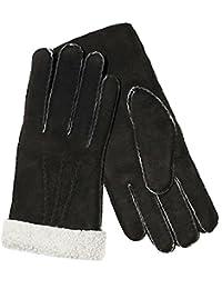 Lammfell Fingerhandschuhe für Herren und Damen schwarz weiß aus echtem Lammfell