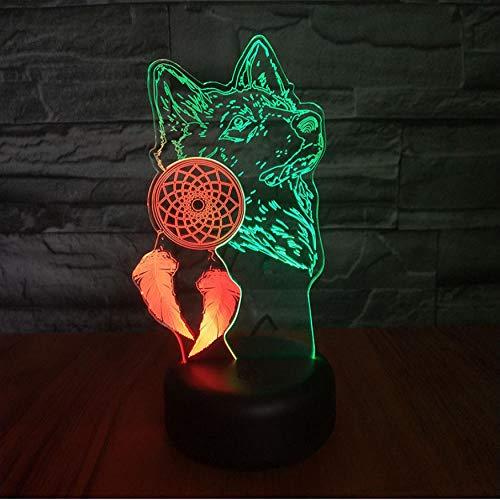 Wolf Nachtlicht 3D Schlafzimmer Multicolor Touch Sensor Neuheit Beleuchtung Kindernachtlicht Geschenke Träume jagen LED Nachtlichter Wolf