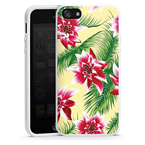 Apple iPhone 5s Housse Étui Protection Coque Été Fleurs Fleurs Housse en silicone blanc