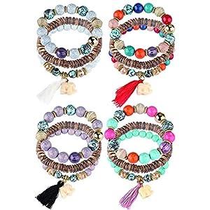 Yadoca 4 Set Bracciali per Donna Ragazza Tennis Rosario Palline Ciondoli Elastico Charms Moda Jewels Gioielli