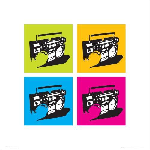 Beyond The Wall Ghetto Blaster Boombox Stereo Urban Graffiti Modern Art Poster Druck 15.75 x 15.75
