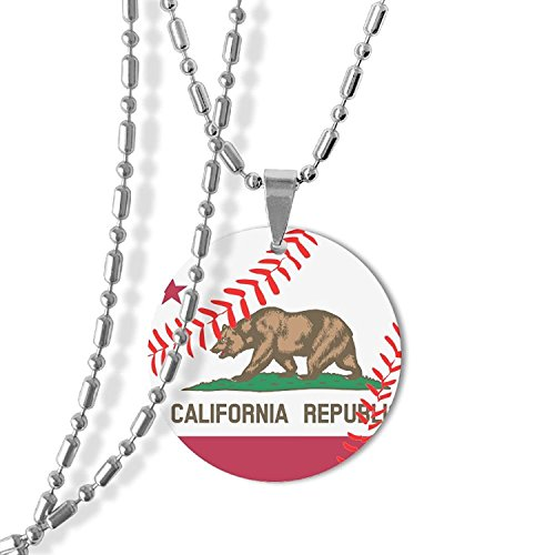 MAMA LAZCNYQL Men Baseball California State Flag Round Necklace Pendant Jewelry Army Card Dog Tag Great Gift (State Flag Dog Tag)