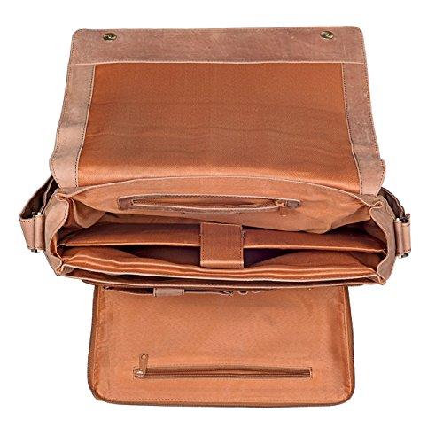 STILORD 'Nick' Umhängetasche Leder Herren Damen Unitasche 15.6 Zoll Laptoptasche Aktentasche Bürotasche Vintage Büffel-Leder, Farbe:cognac - dunkelbraun cognac - hellbraun