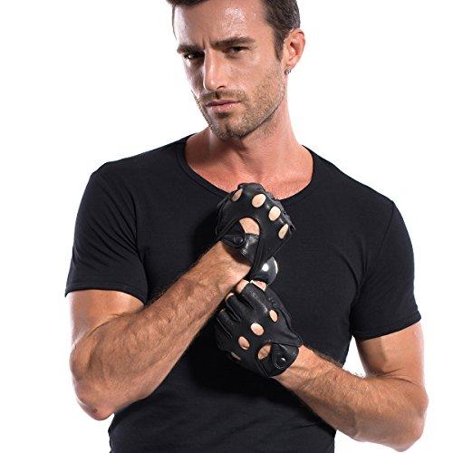 MATSU uomo in pelle senza dita Guanti per guida, disponibile per rivetti M813 fai-da-te Nero  nero
