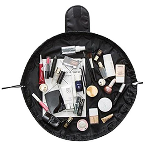 Tefamore Portable Kordelzug Travel Organizer Tasche Make-up Beauty Schmuck Kosmetische Aufbewahrung (Schwarz) (Tasche Make-up Schwarze)