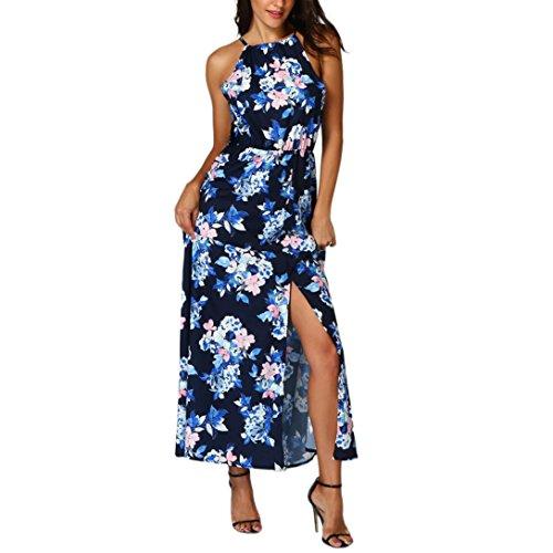 d Basic Floral Wickelkleider Strandkleider Lange Druckkleider für Damen (XL, Z/Blau) (Schickes Kleid Weihnachten Kostüm)
