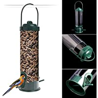 Richi verde para colgar Wild Bird Feeder Seed contenedor para jardín al aire libre alimentación nuevo