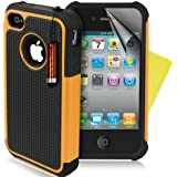 SUPERGETS® High Quality And Stylish Shock Prove Dual Layer Apple Iphone 4 4g 4s Protective Case Cover Includes Screen Protector And Polishing Cloth - yellow
