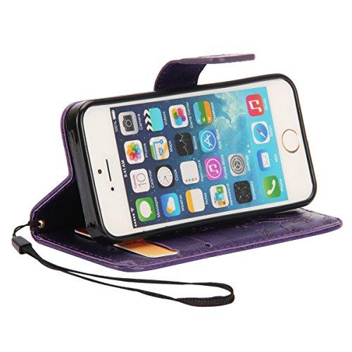 Ukayfe Custodia portafoglio / wallet / libro in pelle per Apple iphone 6 Plus /6S Plus (5.5 pollice ) - Cover elegante e di alta qualità con porta carte di credito e banconote Stampa creativa e cinghi farfalla sollievo (porpora)