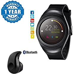 Captcha T11 Bluetooth smart watch support SIM/TF Card facebook and Twitter with S530 Wireless Headset with Mic Compatible with Xiaomi Mi, Lenovo, Apple, Samsung, Sony, Oppo, Vivo Smartphones (One Year Warranty)