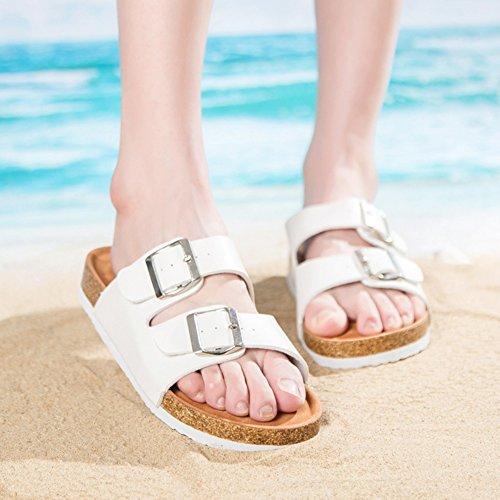 Unisexe Adulte Liège Sandales pour Femme et Homme, Boucles Réglables Chaussures de Plage Pantoufles de Plage Blanc